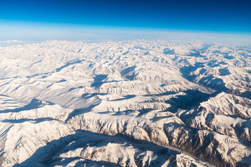 Mountain range in Leh Ladakh from plane view, India