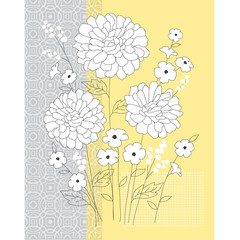 yellow grey floral