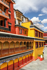 Colorful walls of Thikse monastery-Ladakh,India