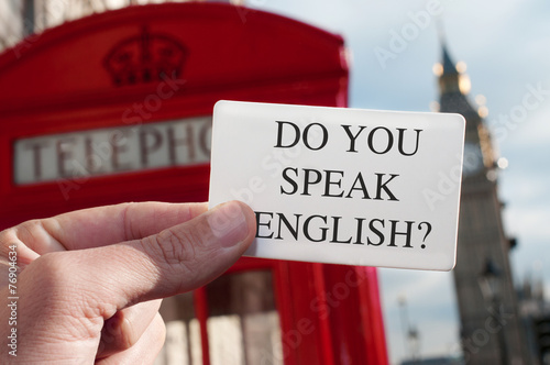 Foto op Canvas Londen do you speak english? in a signboard with the Big Ben in the bac