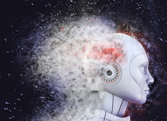 Robot's head  shattered into dust