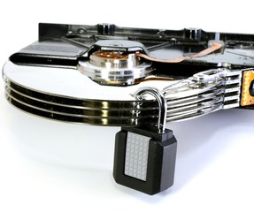 hard disk with a padlock for security of computer data