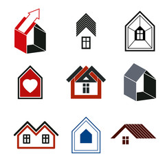 Houses abstract icons, for use in advertising and as branding in