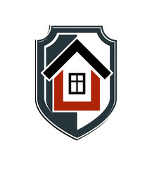 Safety idea, abstract heraldic symbol with a classic house. Real