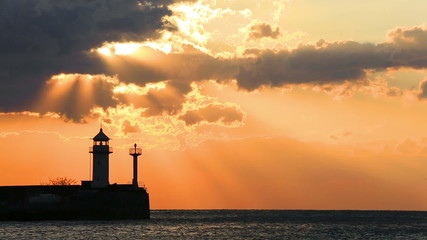 Beacon in Yalta at sunrise