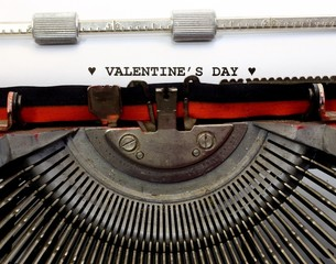written with the typewriter Valentines Day in black ink