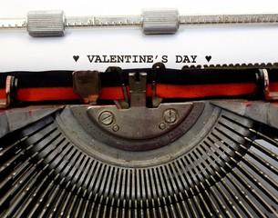 written with the typewriter Valentines Day in black ink