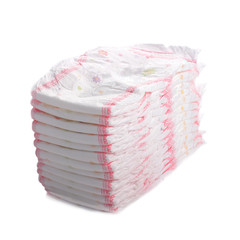 Stack of diapers isolated on white