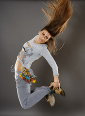 Street dancer girl doing moves