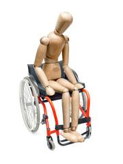 Wooden dummy on wheelchair