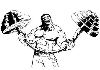 strong bodybuilder flexes heavy barbell