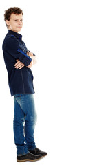 Teenager smiling, isolated on white, full length