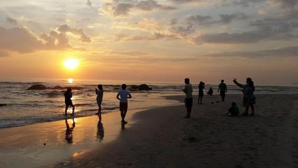 People do activities at huahin beach Thailand