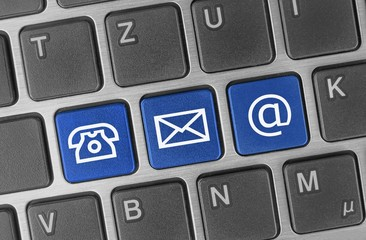 Kontakt - Optionen - Konzept auf Tastatur