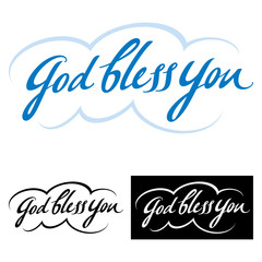 God bless you - abstract vector phrase, good wish and blessing