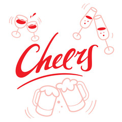 Cheers - abstract vector word with wineglasses and beer mugs