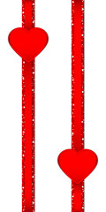 2 Hearts Glitter Ribbon Vertical Red