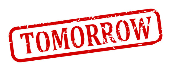"Damage oval red stamp with the word ""tomorrow"" - vector"