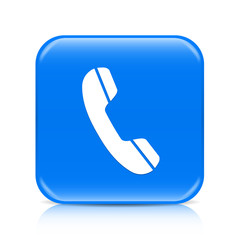 Blue phone button icon with reflection