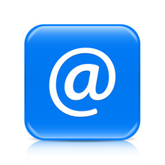 Blue email button icon with reflection