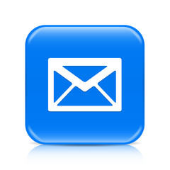 Blue envelope button icon with reflection