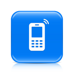 Blue mobile phone button icon with reflection