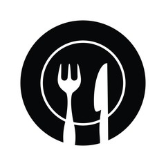 Plate,fork and knife silhouettes vector illustration