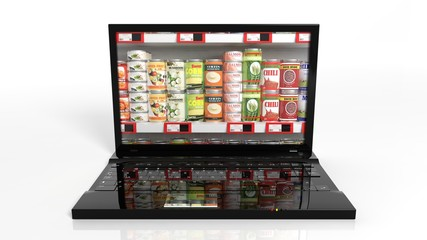 Online shopping concept with laptop and can food products