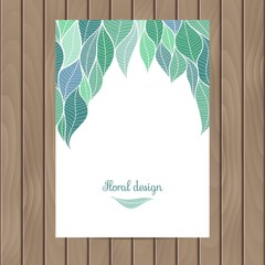 Vector card with the texture of leaves