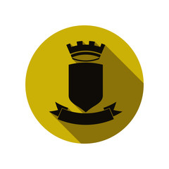 Royal security emblem, simple shield with crown and ribbon. Hera