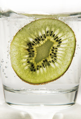 Kiwi slice in soda water