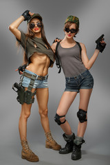 Two super sexy girl up arms