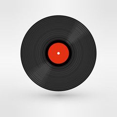 Old, retro black record, LP, eps10 vector art image. isolated on