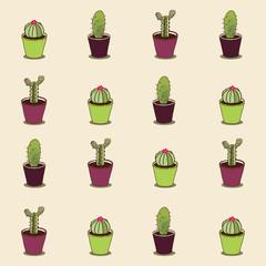 Cacti hand drawn seamless repeat  pattern