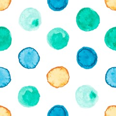 Seamless pattern with watercolor circles