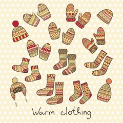 Winter icons - hats, mittens and socks.