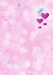 Pink heart air balloon on fantasy heart space and moon