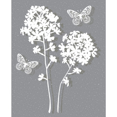 floral on grey