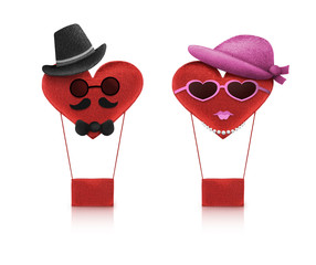 Heart love character man and woman vintage style