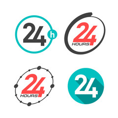24 hours a day icons