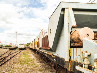 Old trains parking at trainstation