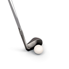 Golf club and golf ball on white