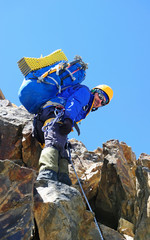 Climber with a backpack