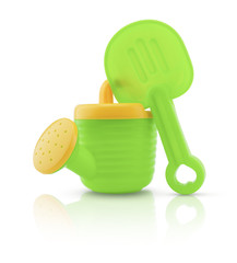 Child's plastic watering can isolated on white background