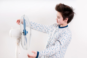 Boy keeps the ventilator