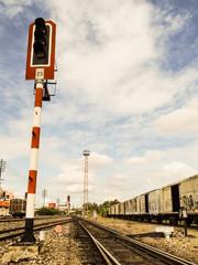 Old railway signal light pole.
