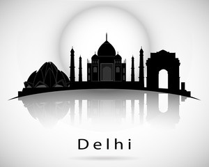 Delhi skyline. Vector illustration