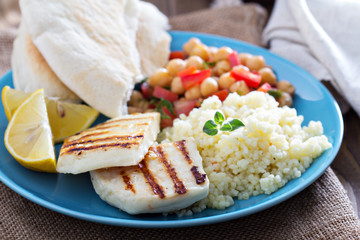 Middle East style meal with couscous and chickpeas