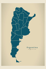 Modern Map - Argentina with provinces AR