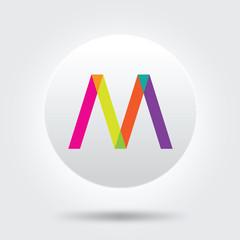m color logo icon vector